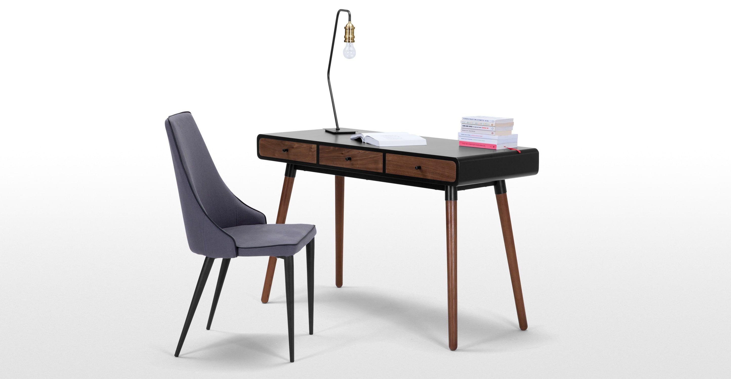 Retro bureau en noyer et tiroirs blanc table design meuble