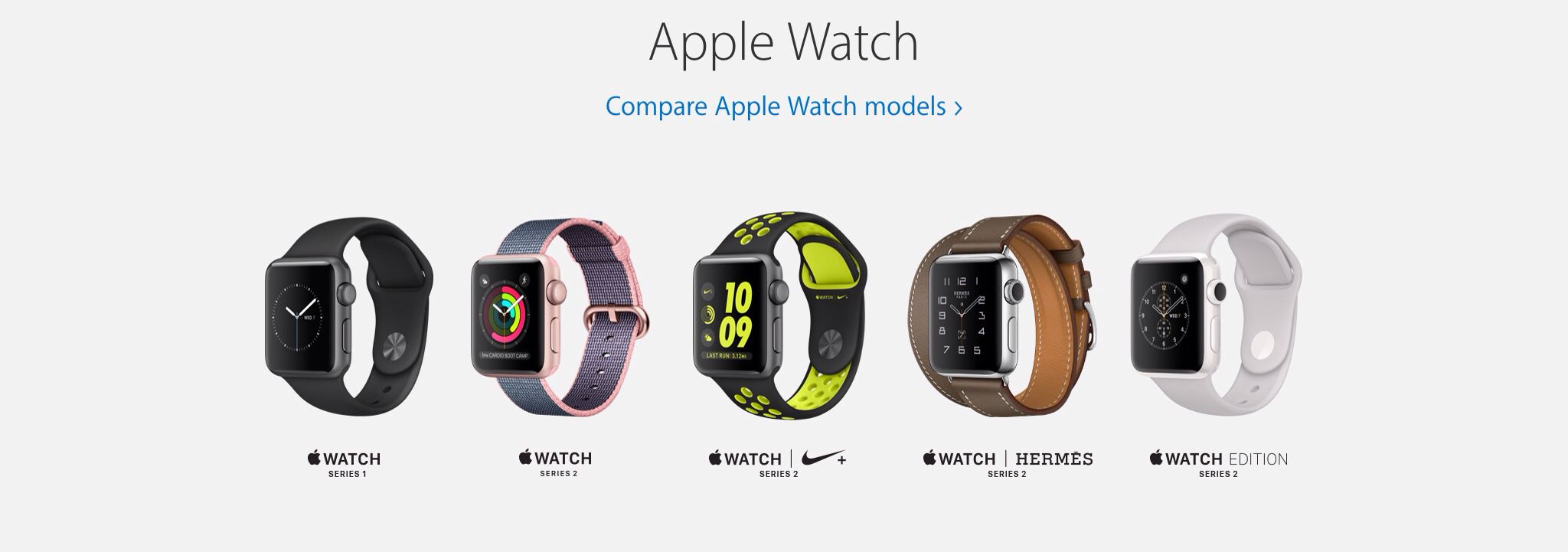 These are all currently available models of Apple Watch