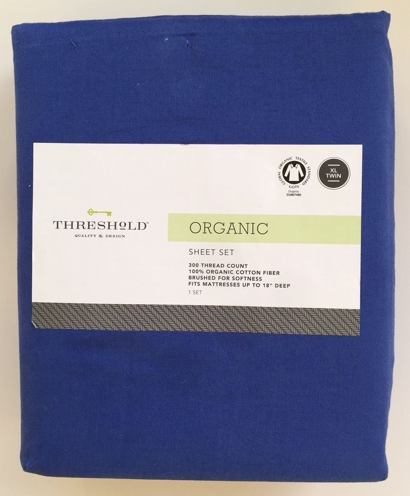 Threshold Sheet Set Organic Cotton XL Twin Blue 300 Thread Count