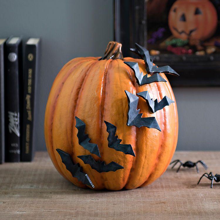 Orange Flying Bats Pumpkin Bats and Halloween 2017
