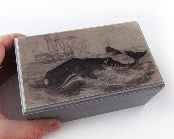 Decorative Keepsake Box Hunt Rustic Wooden Cedar Box  Whale  Nautical Theme Decorative