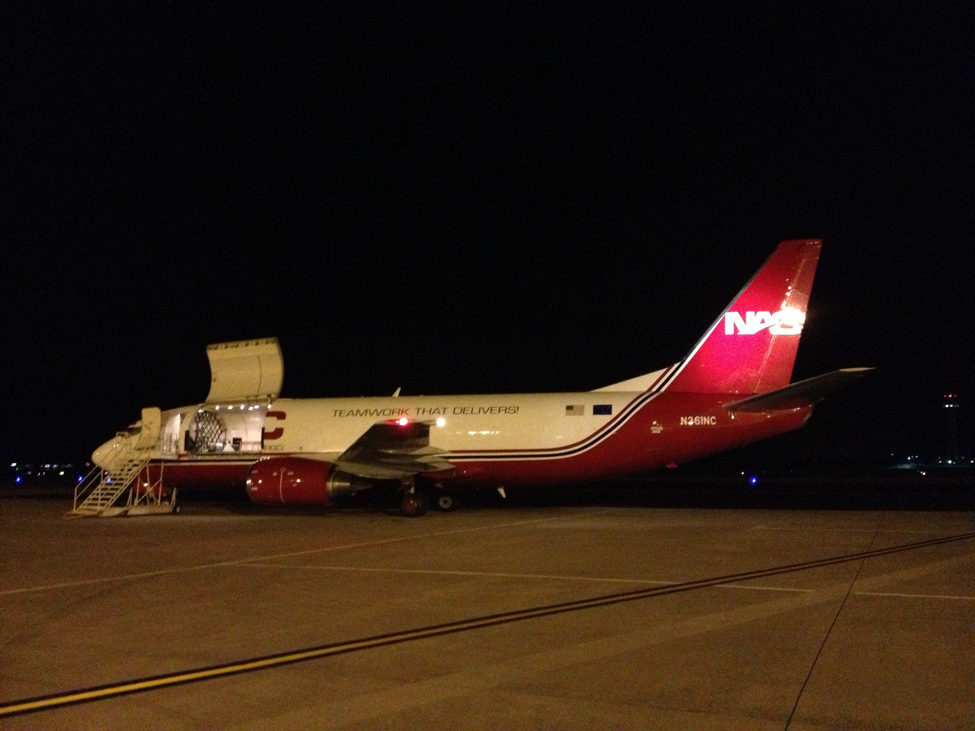 Northern Air Cargo's B737300 of Alaska during night