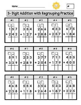 math worksheet : triple digit addition with regrouping worksheets  columns  : 3 Digit Addition With Regrouping Worksheets 2nd Grade
