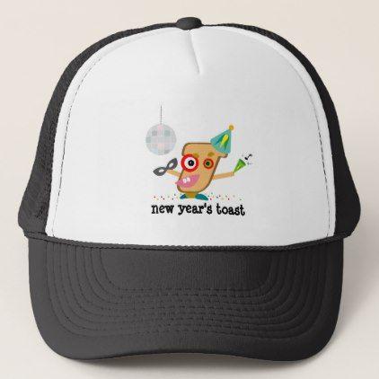Funny New Year\'s Toast Cartoon Trucker Hat | New Year\'s Day | Pinterest
