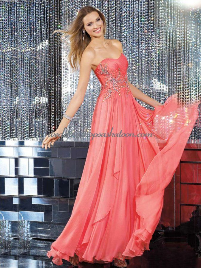 Shirred Bodice Chiffon Gown With Beading Detail - $134.99 : Wedding ...