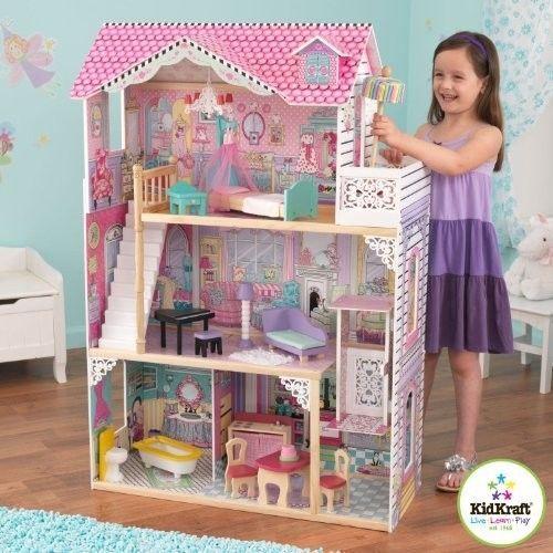 Large Wooden Dollhouse 3 Story Elevator Chandelier 12 In Dolls 16 Pc Furniture Kidkraft Doll House Wooden Dollhouse Furniture