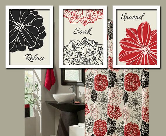 Black red flourish bathroom artwork set of 3 trio by for Red and black bathroom accessories sets