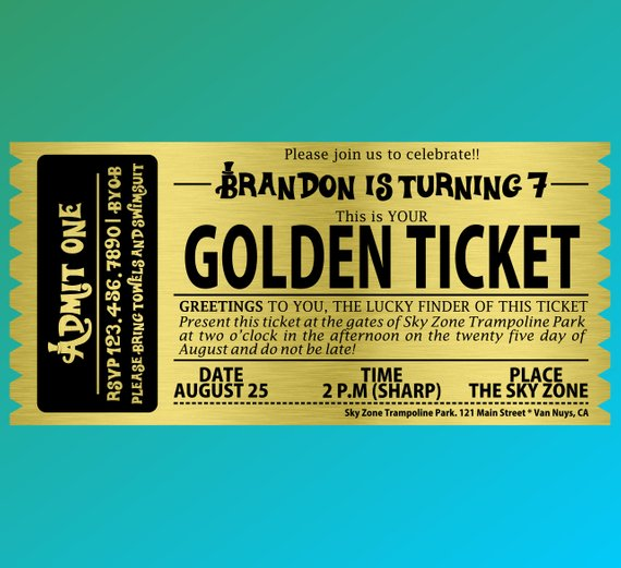 Willy Wonka Birthday Party Bar Golden Ticket Invitations