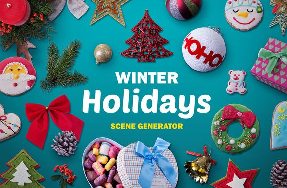 Winter Holidays scene generator by All Design Store on Creative Market