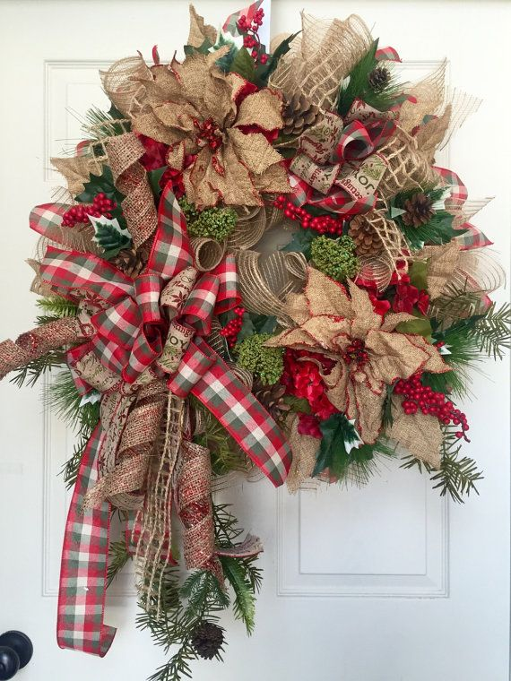 Christmas Country Mesh Burlap Wreath by WilliamsFloral on Etsy