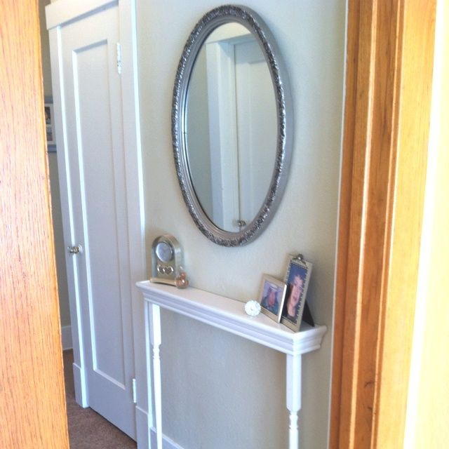 Entryway ideas mirror table shelf for narrow hallway for Small long mirrors
