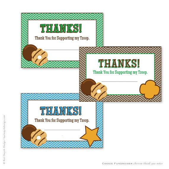 DOWNLOADABLE Girl Scout Cookie Fundraiser Green Chevron Thank You - fund raiser thank you letter