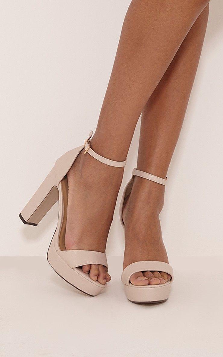Taya Nude PU Platform Sandals | PRETTYLITTLETHING | Pinterest