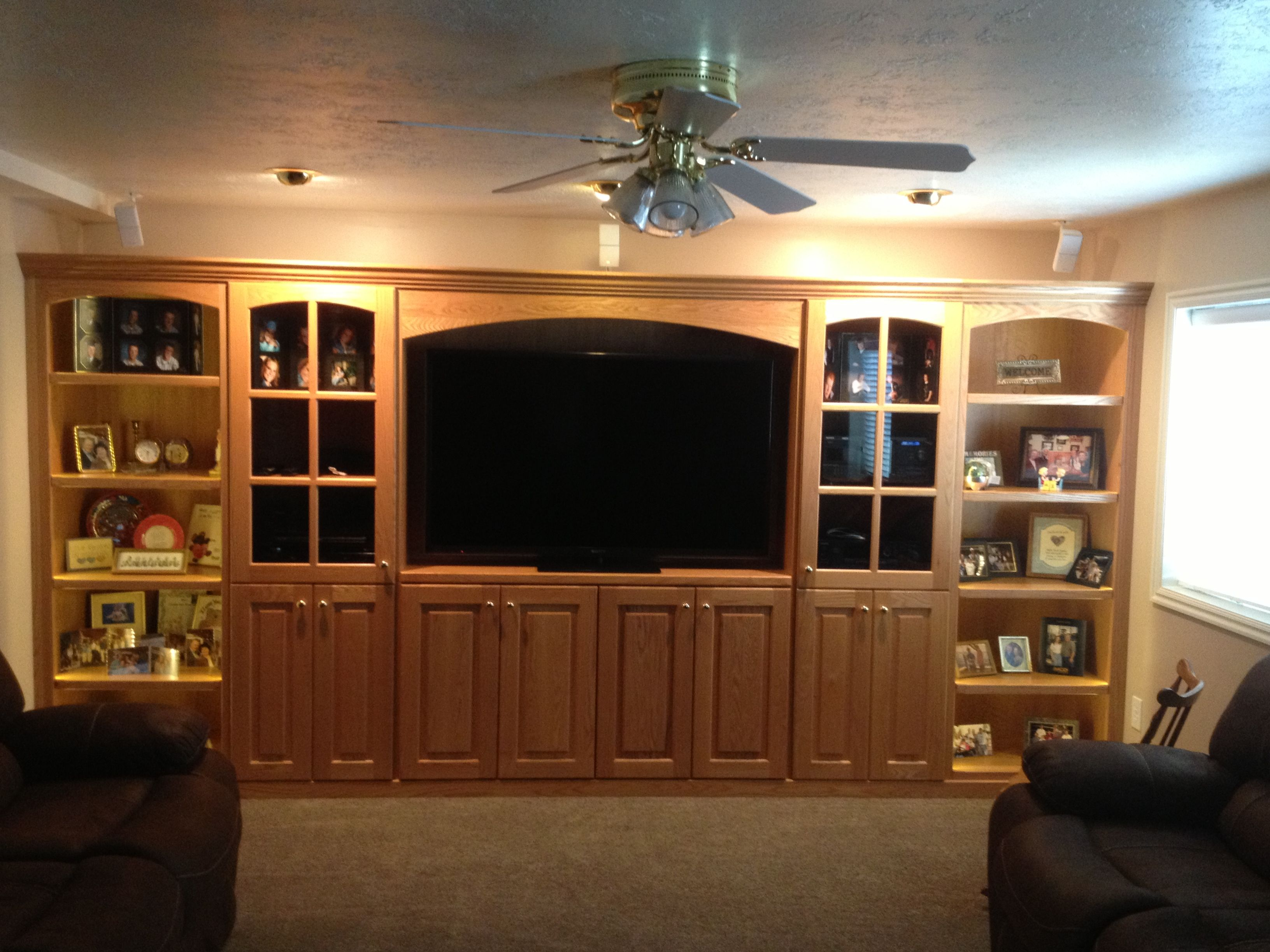 Oak Entertainment Center With Glass Doors And Valance Living Room Furniture Sale Cheap Living Rooms Small Apartment Living Room Entertainment center with glass doors