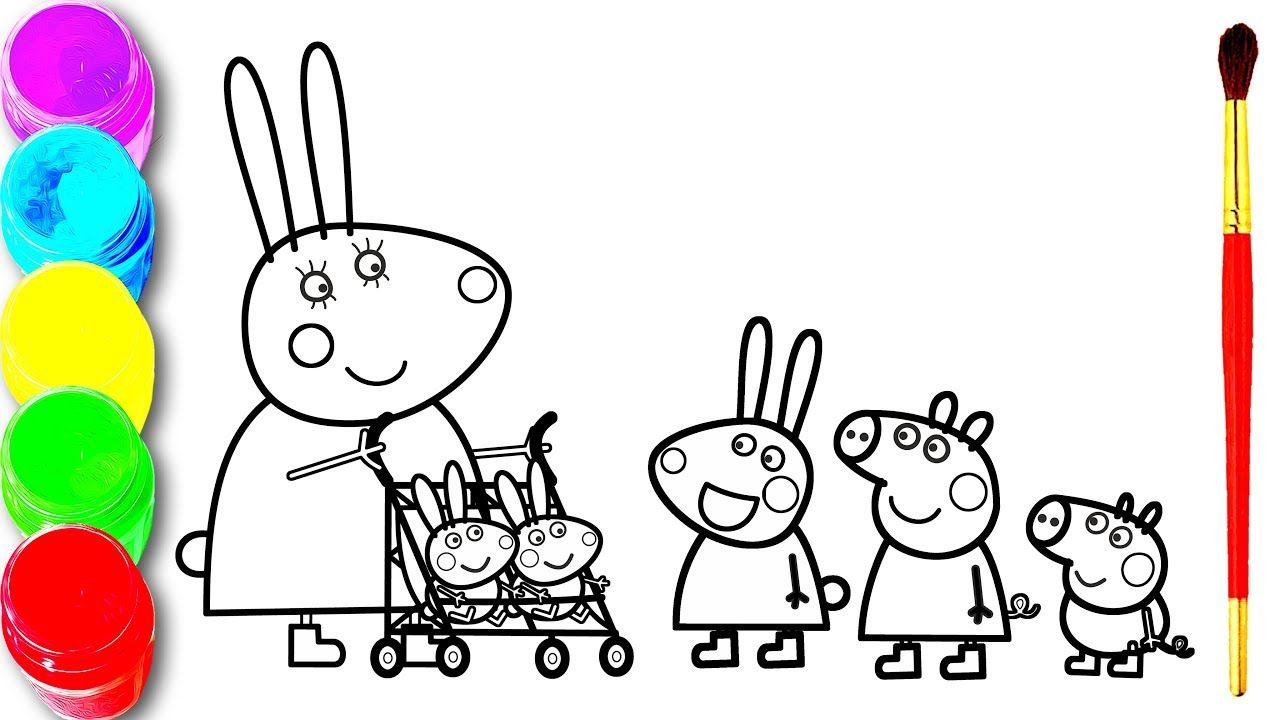 Peppa Pig Robbie And Rosie Rabbit Baby S Coloring And Drawing Painting Learn Colors For Kids Youtube Nursery Rhymes Songs Kids Songs Baby Colors