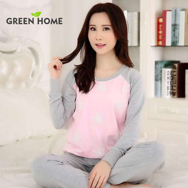 dbf3676e4 2016 ropa de Embarazo establece Pijamas para El Embarazo Las Mujeres Casa  Verde Sólido de Algodón