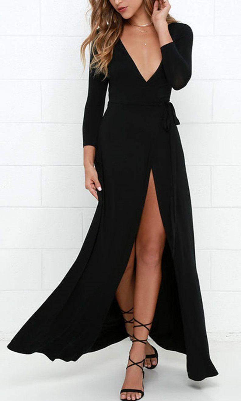 Womenus sexy deep v neck long sleeve slit maxi dresses clothes
