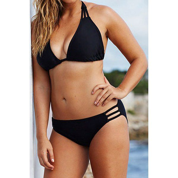$12.38 Fashionable Halterneck Solid Color Hollow Out Bikini Set For Women