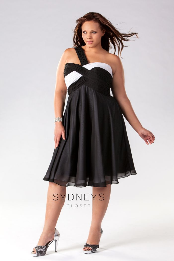 "pretty wonderful"" black and white plus size cocktail dress"