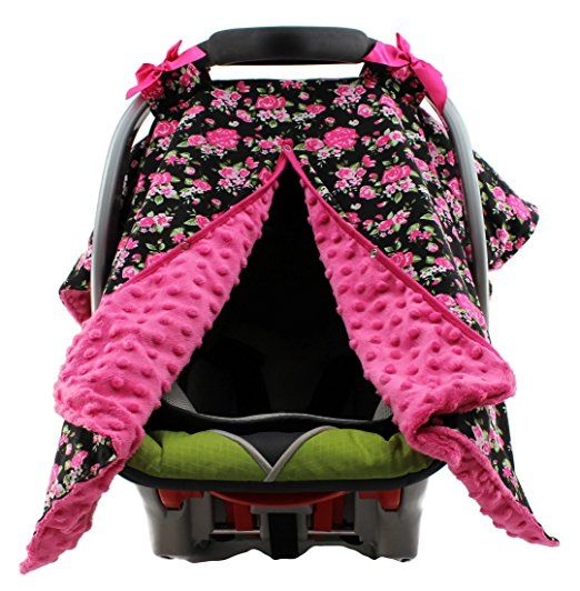Amazon Dear Baby Gear Carseat Canopy Vintage Floral Pink On White