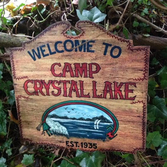 9e124aa88 Weathered version of the iconic Camp Crystal Lake sign from the classic  horror/slasher movie