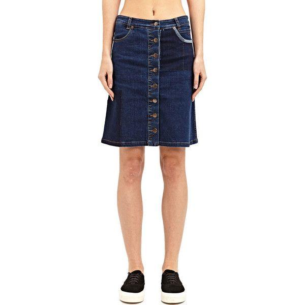 Preen Line Penelope Denim Skirt ($76) ❤ liked on Polyvore featuring skirts, blue, blue skirt, preen skirt, denim skirt and blue denim skirt