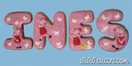 Tu nombre en galletas Ines Peppa Pig
