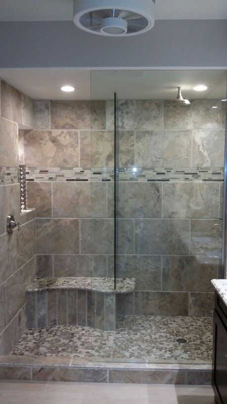Travertine Gray And Cream Masterbath Make Over. Removed Garden Tub And  Fiberglass Shower And Made One Spa   Like Get A Way Right At Home!