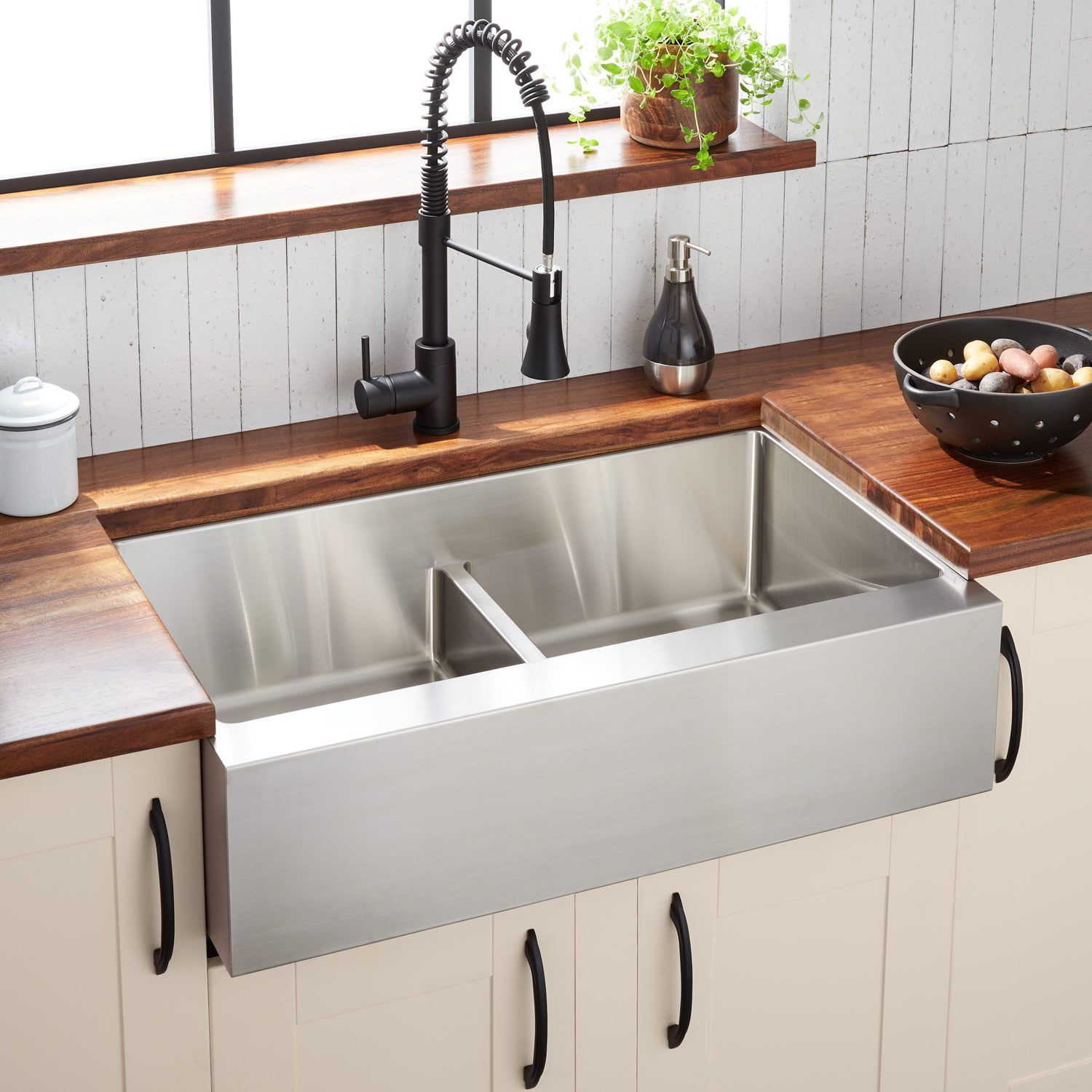 34 sitka doublebowl stainless steel farmhouse sink