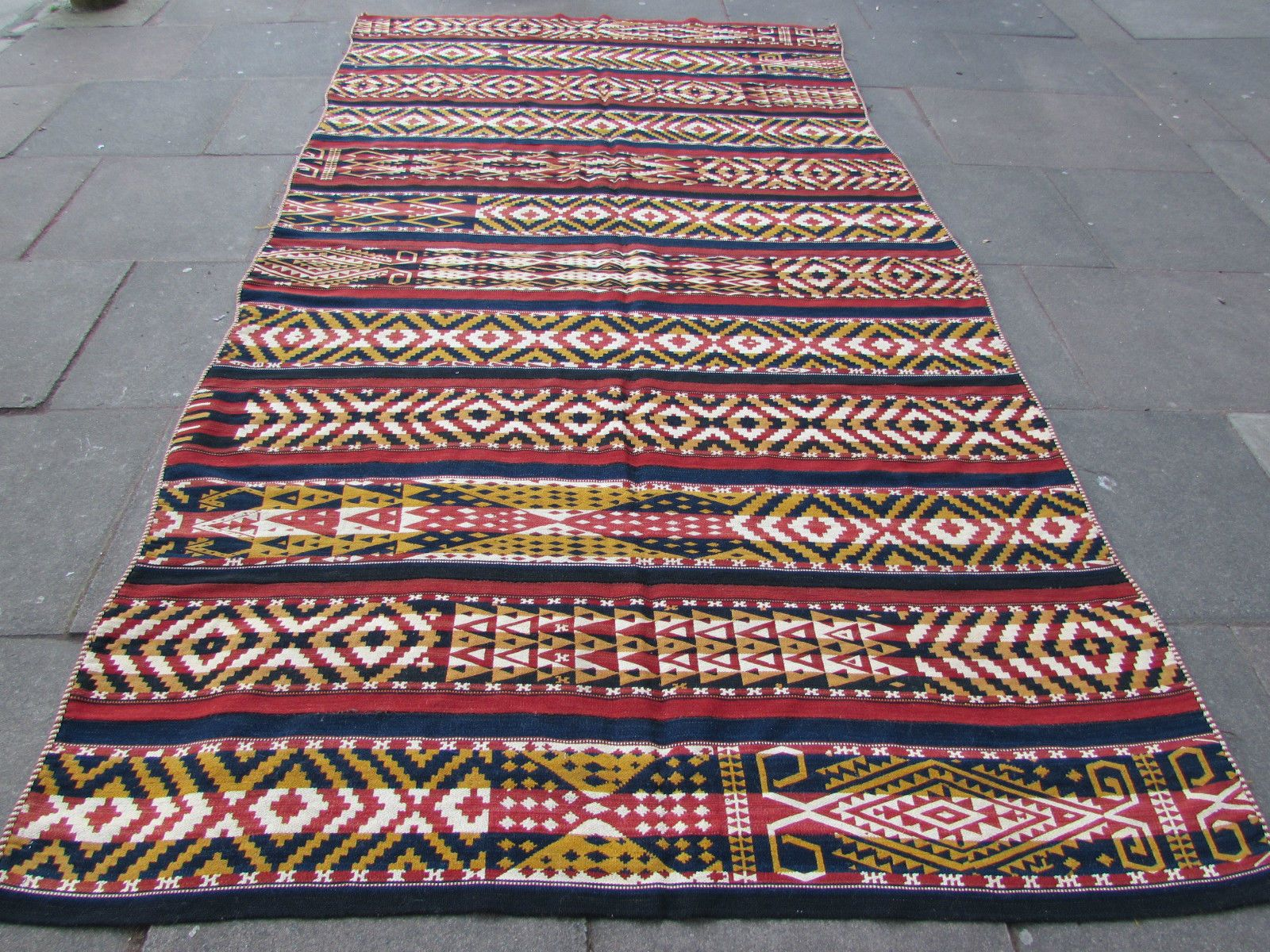 Old Tribal Nomadic Hand Made Ouzbak Oriental Red Wool Jajim Kilim 350x195cm in Antiques, Carpets/ Rugs | eBay