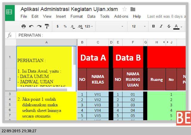 Operator Sekolah File Aplikasi Administrasi Kegiatan Ujian Dengan Excel Microsoft Excel Excel Education