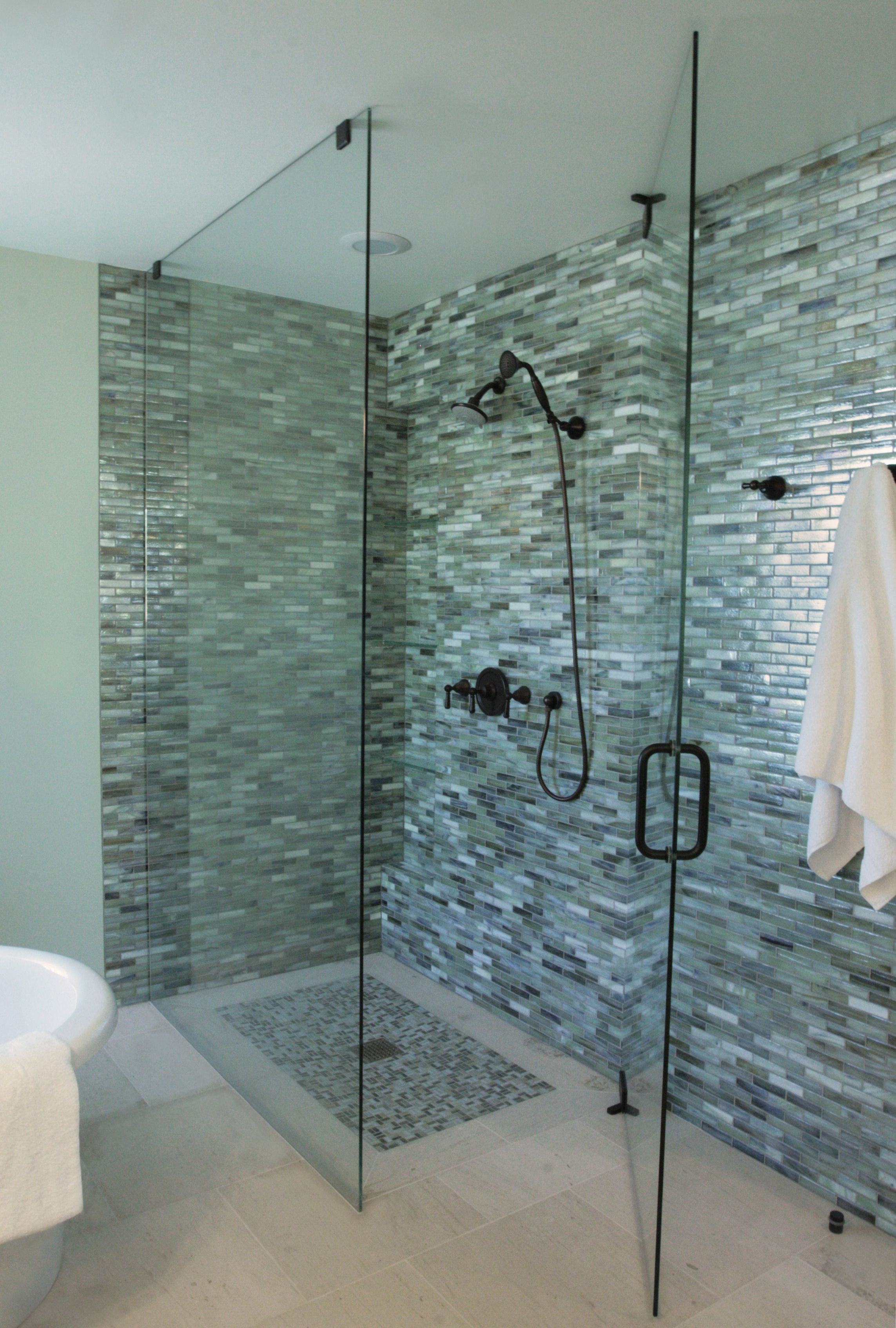 Bathroom Wall Glass Tile Ideas Part - 30: Beautiful Gray Bathroom Glass Tile For Shower Wall With Black Shower And  White Towel And Also Glass Shower Door With Black Handles -