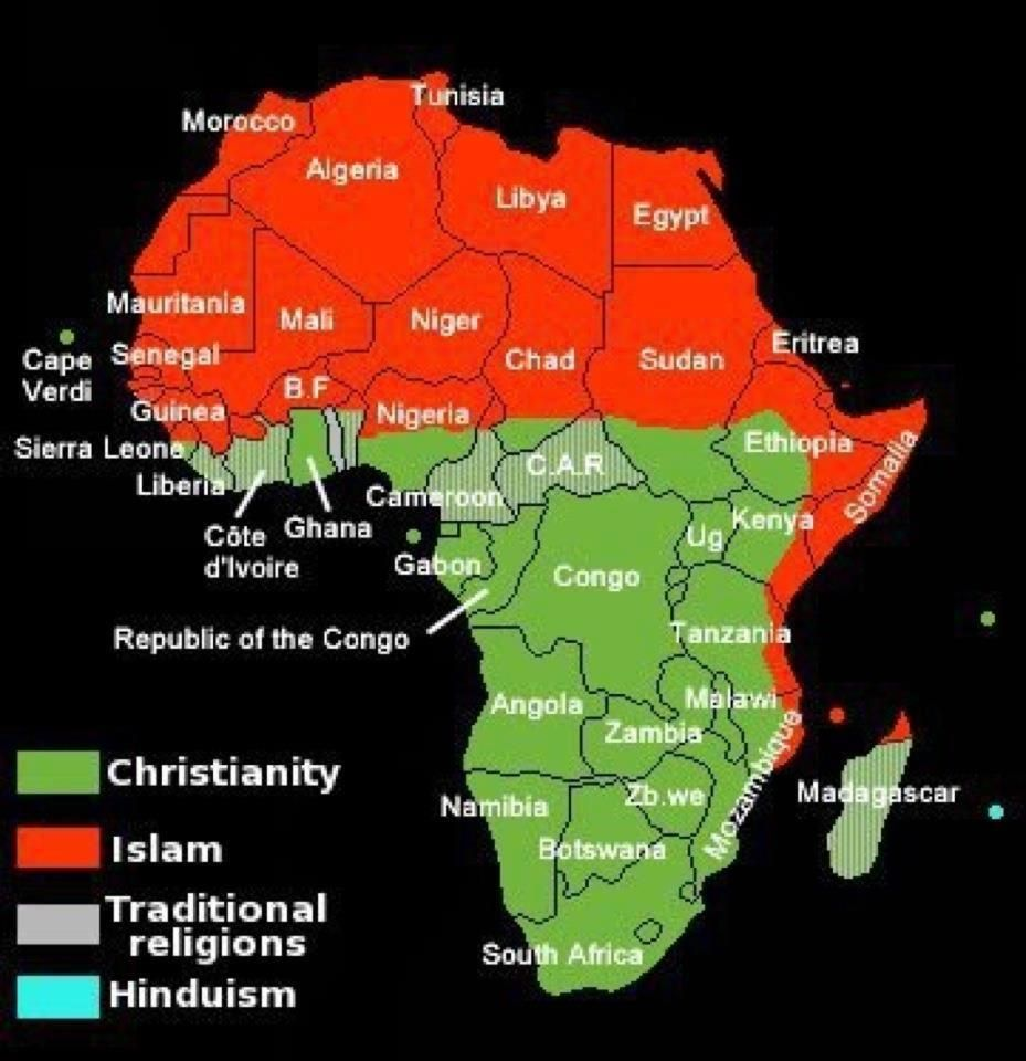 Africa Religion Map Religious map of Africa | Topographical Depiction | Africa map