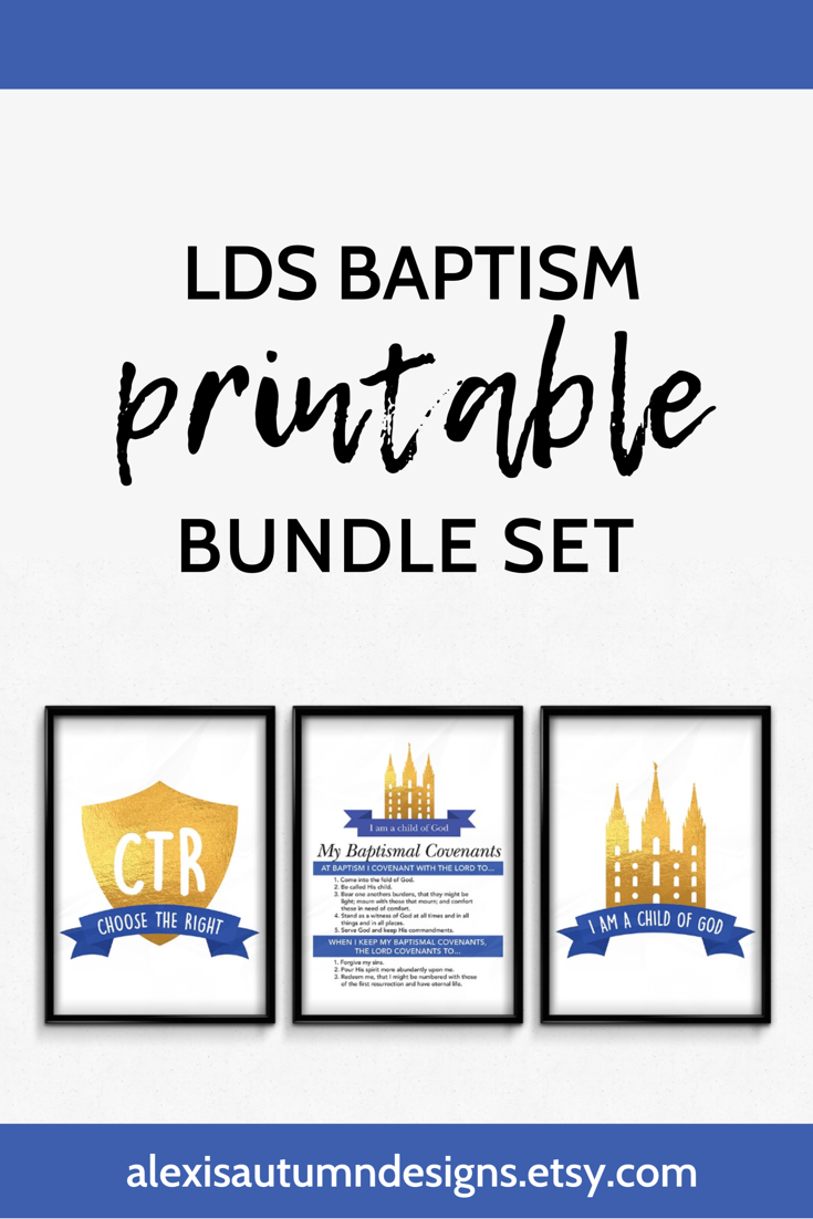 LDS Baptism Triangle Pennant Banner Primary Party Decorations Can Customize Digital Printable Aqua and Gold Instant Download