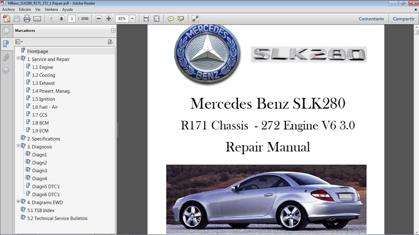 Mercedes Benz Slk280 R171 Workshop Repair Manual Manual De Taller Mercedes Benz Mercedes Benz