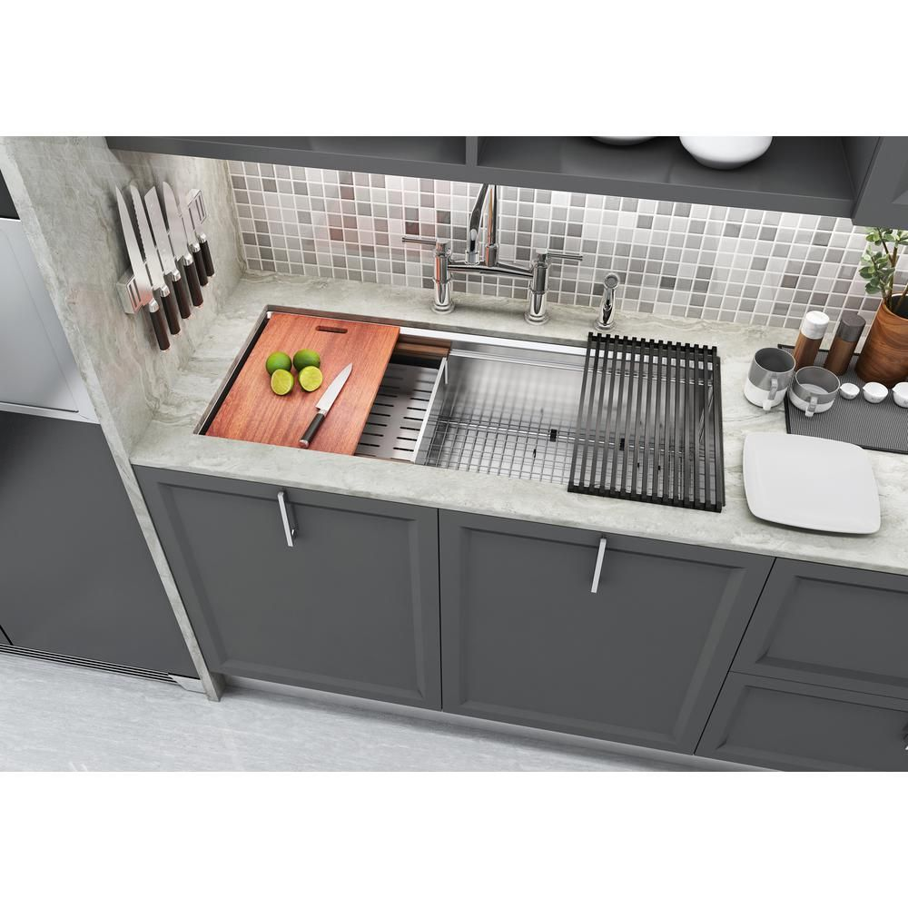 Emoderndecor Workstation 42 In Undermount 16 Gauge Single Bowl Stainless Steel Kitchen Sink W Integrated Ledge 15mm Tight Radius Wsr4219 The Home Depot In 2020 Undermount Kitchen Sinks Best Kitchen