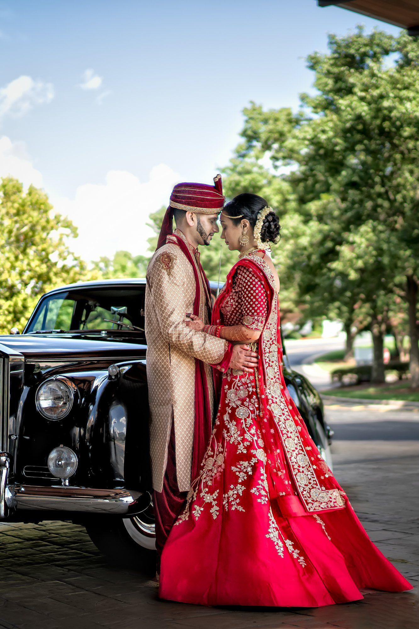 Romantic Indian Wedding Couple Shot - Bride in Interesting