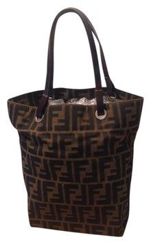 9fff98b97c Fendi Zucca Pattern Monogram Canvas Handbag Brown Tote Bag  235 ...