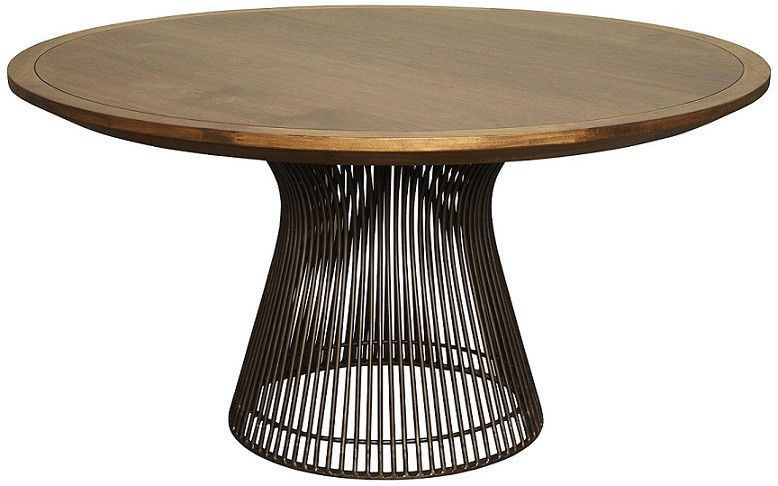 60 Round Dining Table Iron Base Solid Walnut Top Quality Dark