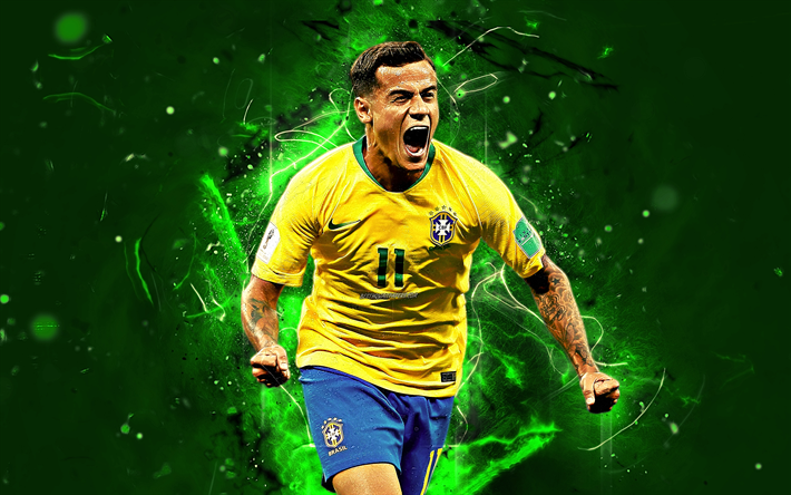 Download Wallpapers Coutinho Goal Striker Brazil National Team Fan Art Philippe Coutinho Soccer Footballers Neon Lights Football Stars Abstract Art B Striker Football Team Sports Wallpapers