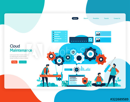 Homepage Landing Page Vector Flat Illustration Of Cloud Maintenance Repair And Maintenance Of Cloud Stor Flat Illustration Repair And Maintenance Illustration