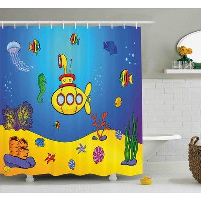 Zoomie Kids Fern Yellow Submarine Nautical Kids Colorful Fish Underwater Jellyfish Seahorse Shells Star Shower