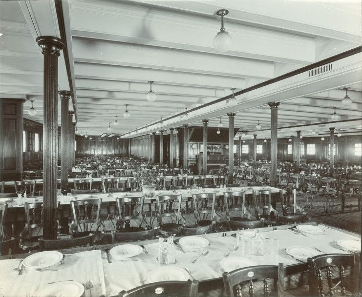 Interior Of The Lusitania, 1905 1907 Third Class Dining Room. Titanic ...
