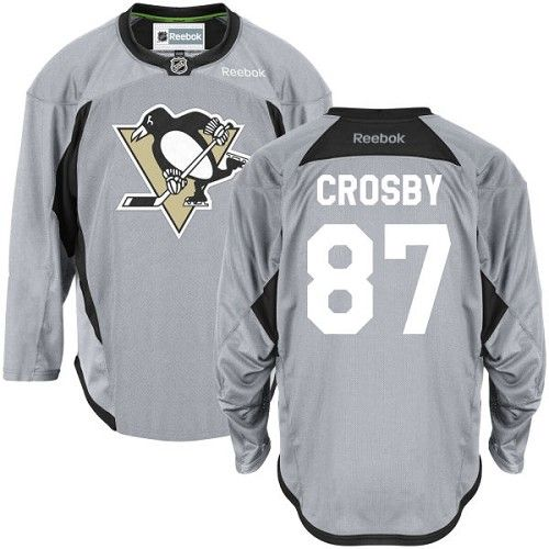 Reebok Pittsburgh Penguins #87 Men's Sidney Crosby Authentic Grey Practice  NHL Jersey