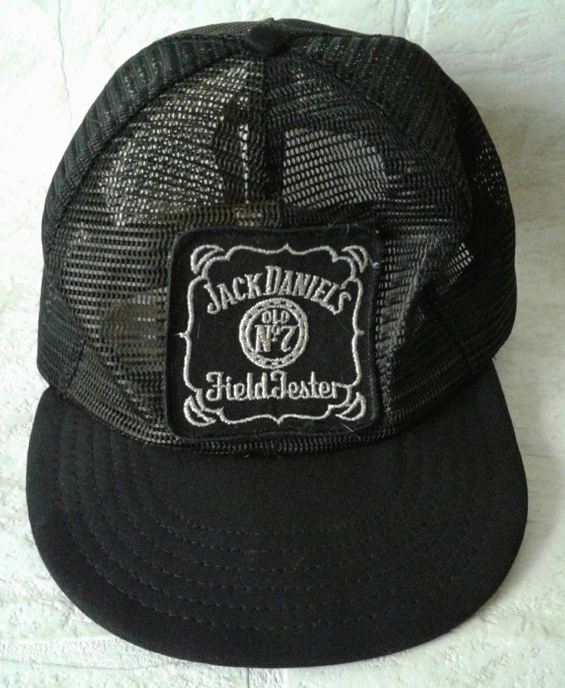 c679412d904 Jack Daniels Trucker Snapback Hat Distressed Destroyed Old No 7 Field  Tester VTG