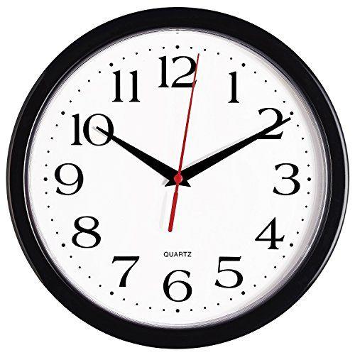 Bernhard Products Black Wall Clock Silent Non Ticking  10 Inch Quality Quartz Battery Op