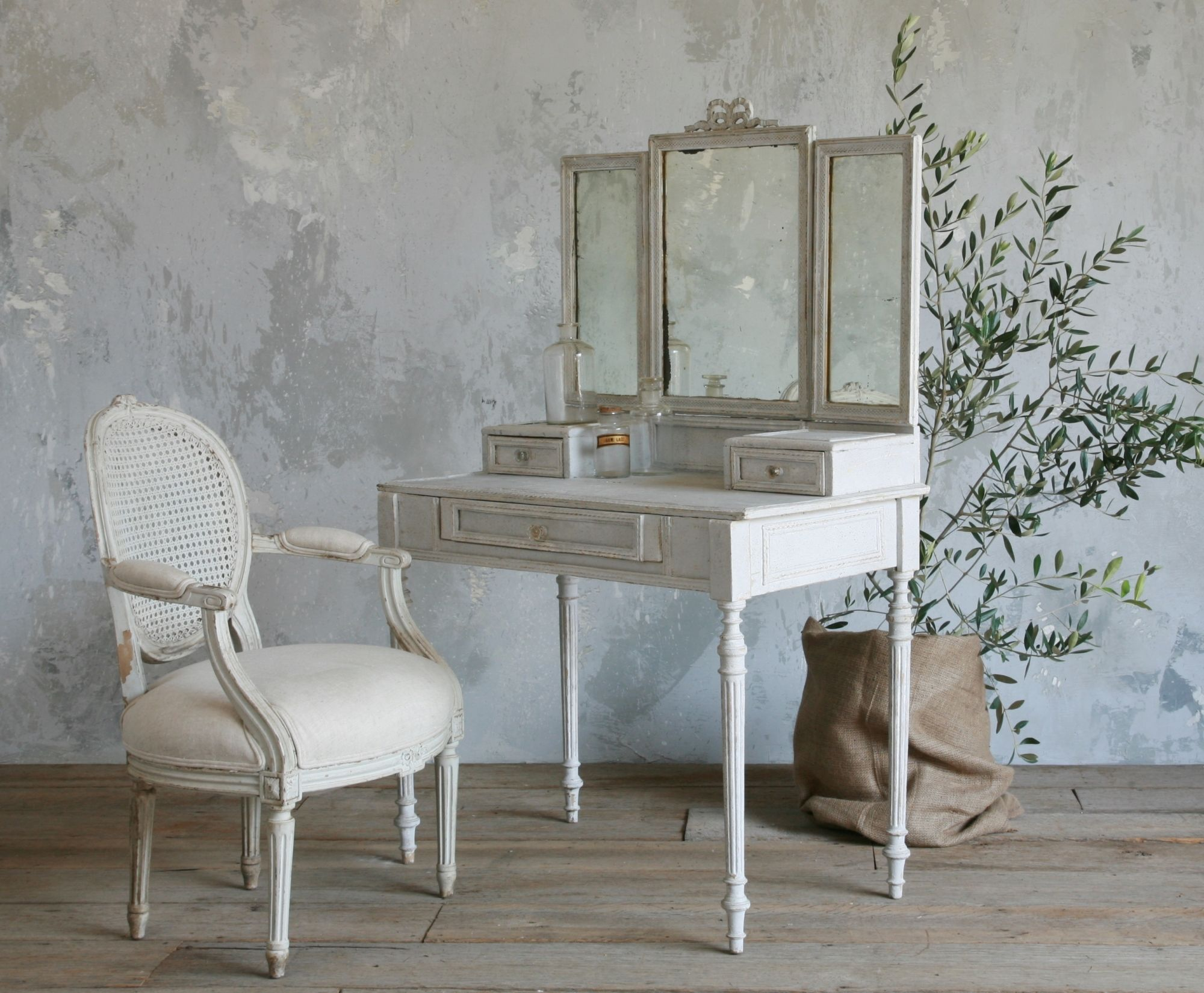 Enchanting White Tri Fold Mirrored Vanity Table For Makeup Dressing Ideas With Single White Wooden Rustic Armchair In Coun Antique Vanity Table Decor Furniture