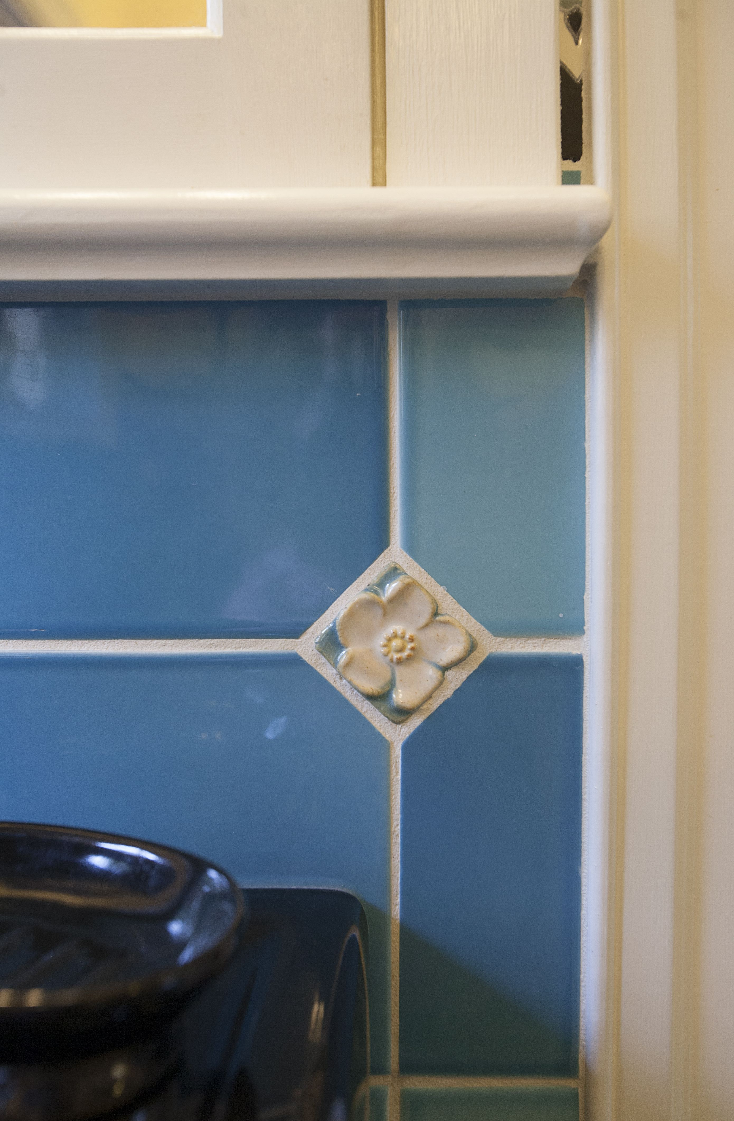 These little floral tiles were the only original tiles that could be ...