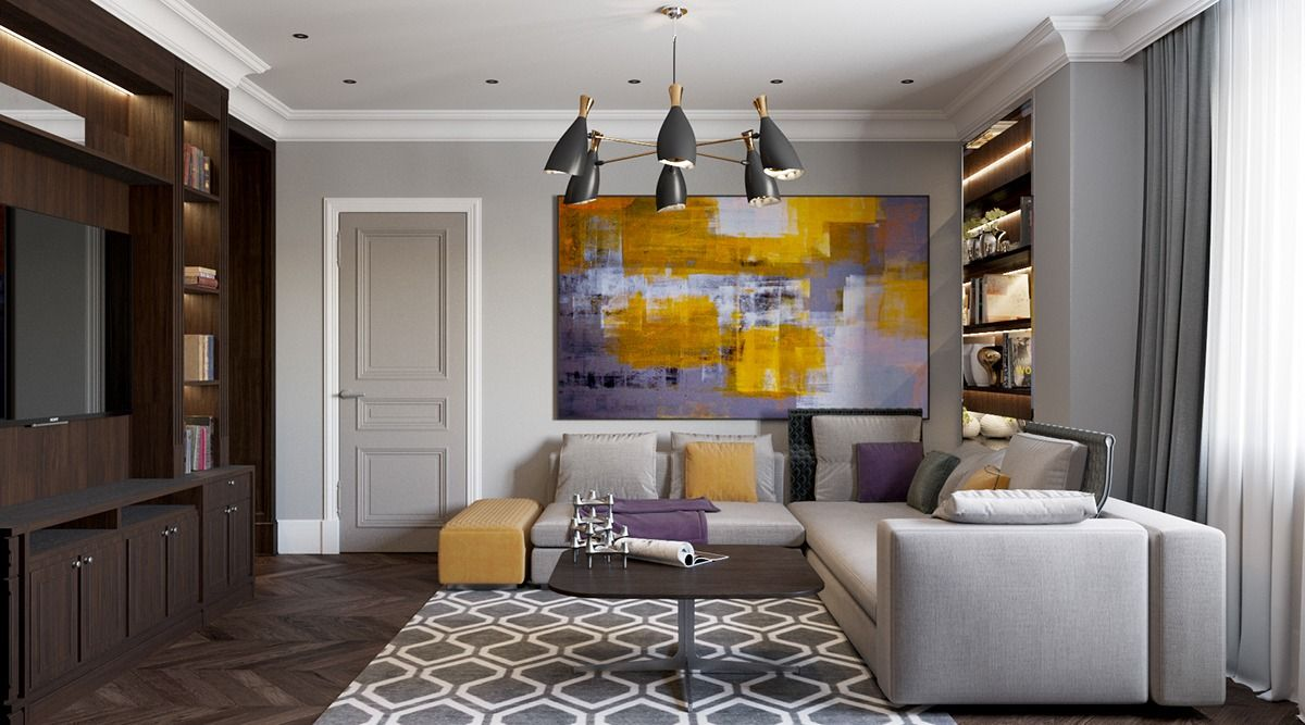Inspiring Art Wall Painting Decor Of Modern Living Room Design With Cool Hanging Lamps Over Espresso Square Plywood Coffee Table As Well As Elegant Grey   ... Part 86