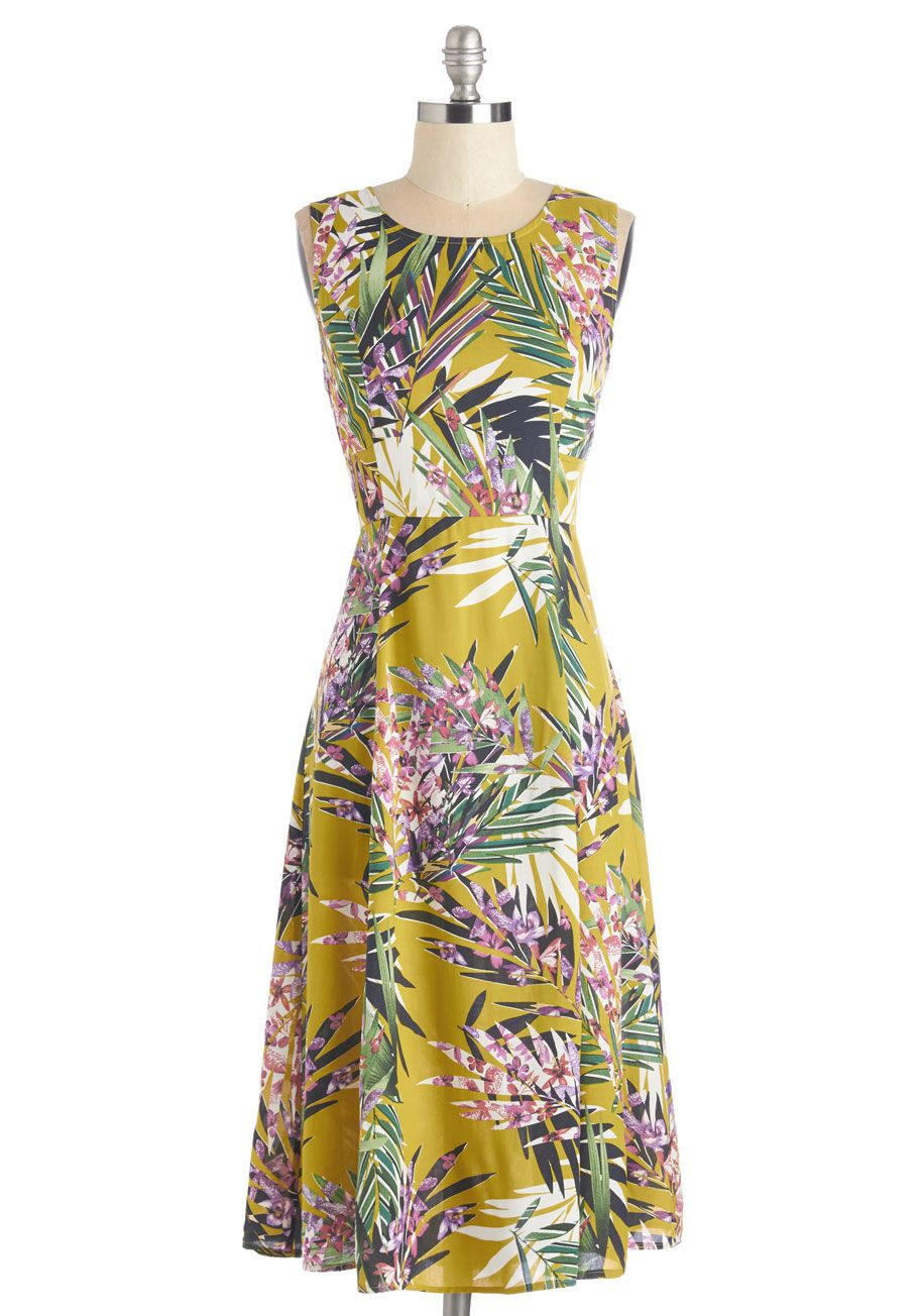 3dabdc76801 Peaceful Perfection Dress in Palms. Finding your happy place is a breeze  when what makes you merry is this bright chartreuse dress.  yellow  modcloth